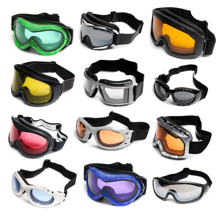 Ski goggles isolated on a white background photo