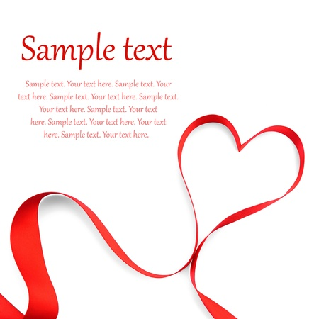 textile care symbol: red heart ribbon bow isolated on white background