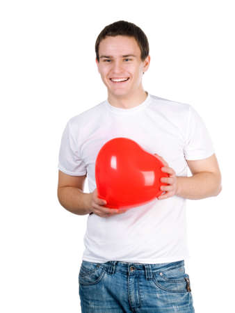 guy with a red heart on a white background photo