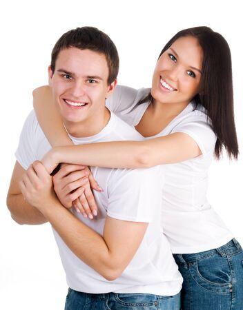 parejas jovenes: hermosa joven pareja sobre un fondo blanco