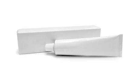 commercial medicine: white tube isolated on a white background