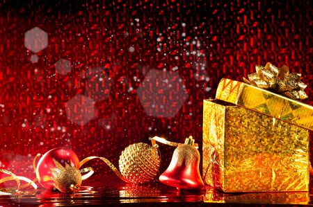 beautiful Christmas card with a brilliant red background Stock Photo