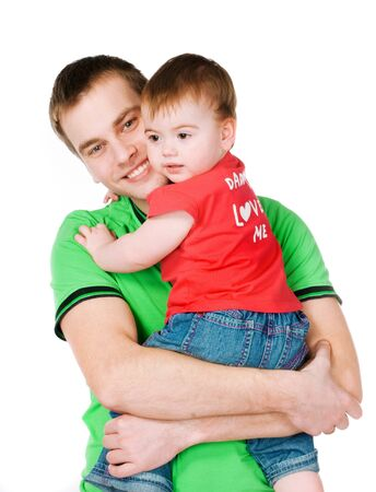 father with baby on a white background Stock Photo - 8907652