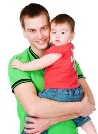 father with baby on a white background Stock Photo - 8907659