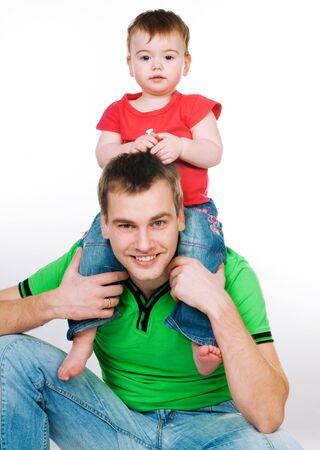 father with baby on a white background Stock Photo - 8907653