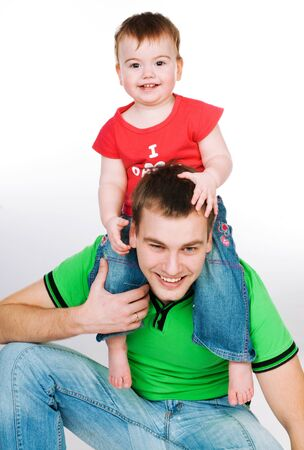 father with baby on a white background Stock Photo - 8907648