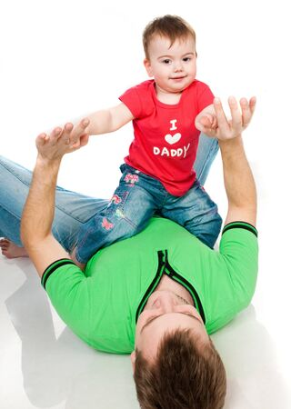 father with baby on a white background Stock Photo - 8907645
