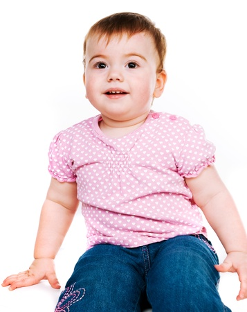 small child on a white background Stock Photo - 8907656
