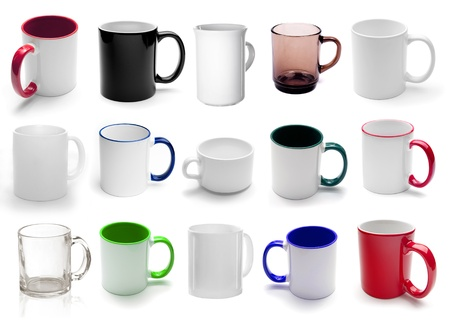 mug: set different cups isolated on a white background