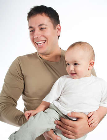happy father with a baby on a white background Stock Photo - 9022687