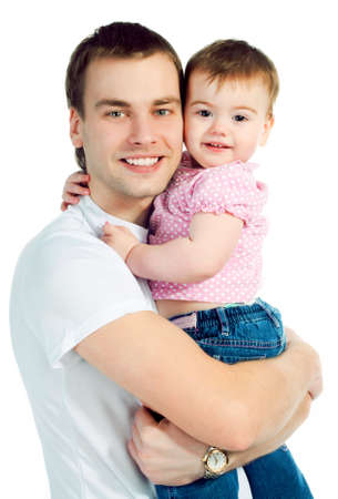 happy father with a baby on a white background Stock Photo - 8907994