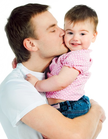 happy father with a baby on a white background photo
