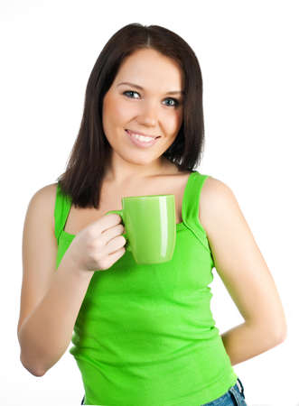 pretty girl with a green cup  on a white background photo