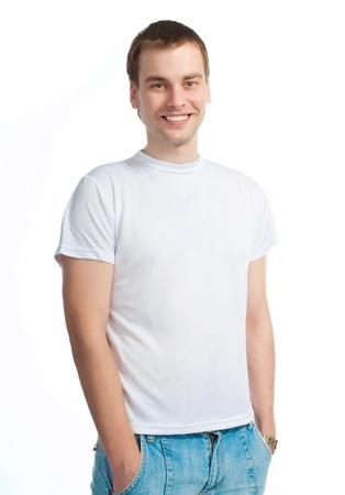 young man in a white T-shirt Stock Photo - 9006108