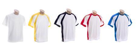 set of colorful t-shirts on white background photo