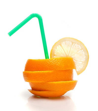 fruity: sliced orange with a straw Stock Photo