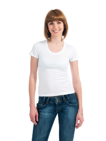 t shirt: Beautiful teen in a blank white t-shirt for you to add your own text or design Stock Photo