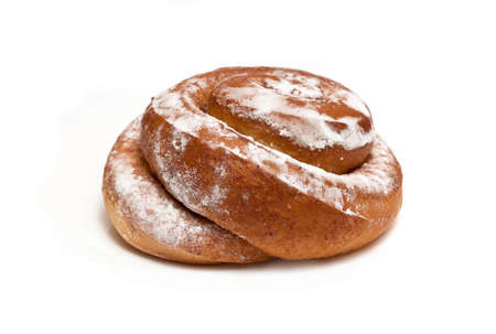 delicious cinnamon roll on a white background photo