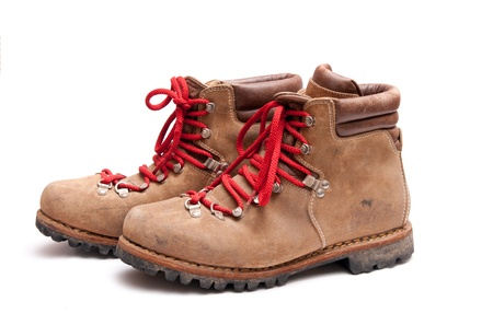 hiking boot: brown mountain boots isolated on a white background Stock Photo
