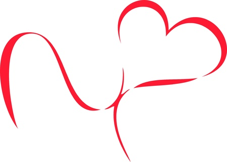 heart drawing: red heart ribbon bow isolated on white background