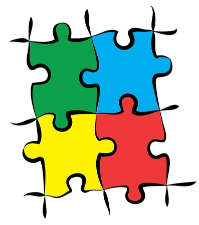 assemble: render of jigsaw puzzle pieces in 4 colors Illustration