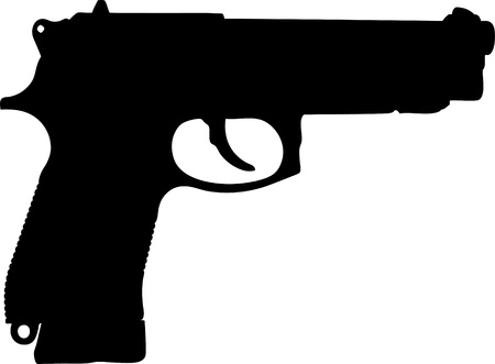 shooting gun: silhouette of pistol on a white background
