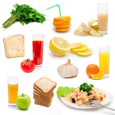 set of dietary bioproducts isolated on a white background photo
