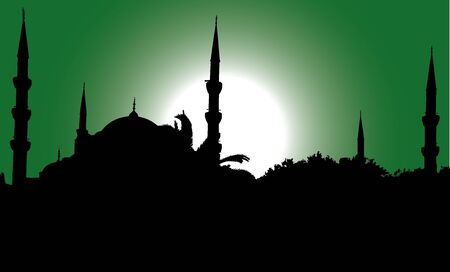 vector silhouette of the Blue Mosque in Istanbul Иллюстрация