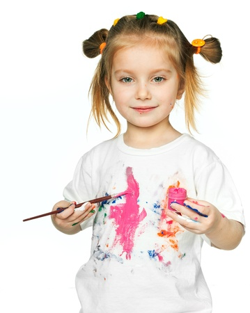 beautiful little girl with a t-shirt in the paint Stock Photo - 9275120