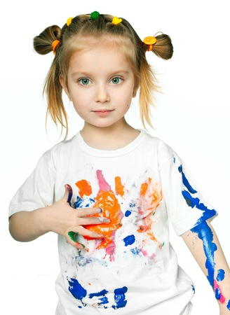 beautiful little girl with a t-shirt in the paint Stock Photo - 9275129