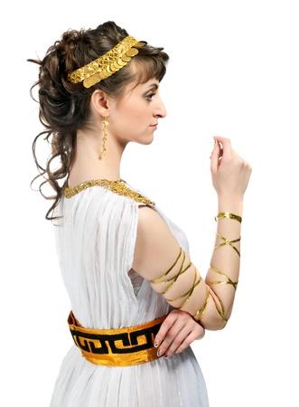 diosa griega: Muchacha griega aislado en un fondo blanco Foto de archivo