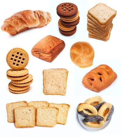 Different bakery products and biscuits isolatad on white