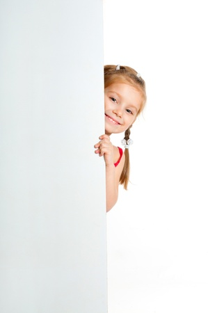 girl holding sign: nice girl beside a white blank for text or image Stock Photo