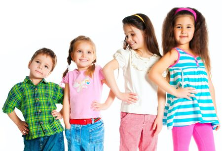 female children: laughing small kids on a white background Stock Photo