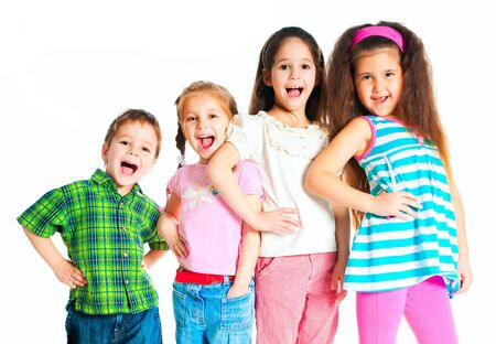 laughing small kids on a white background photo