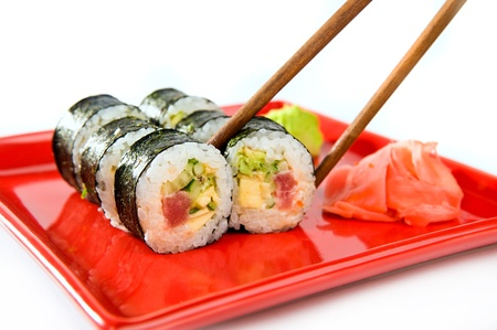 Japanese sushi rice, raw fish and seafood photo