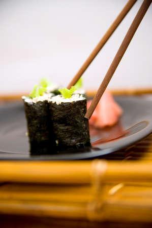 Japanese sushi rice, raw fish and seafood photo