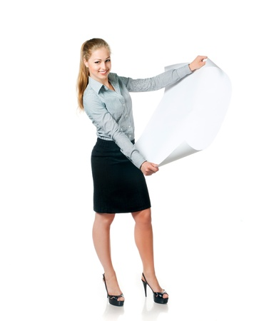 exhibiting: young beautiful business lady with blank for your picture or text