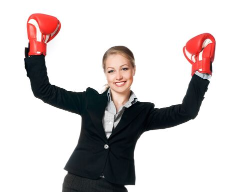 beautiful young woman with boxing gloves on white background photo