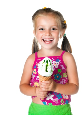 cute little girl eating ice cream on a white background Stock Photo - 9910885