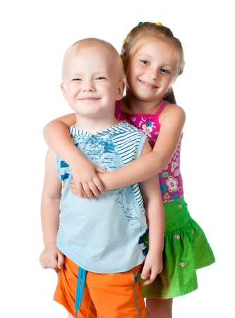 sister and brother: little brother and sister on a white background Stock Photo