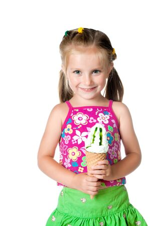cute little girl eating ice cream on a white background photo