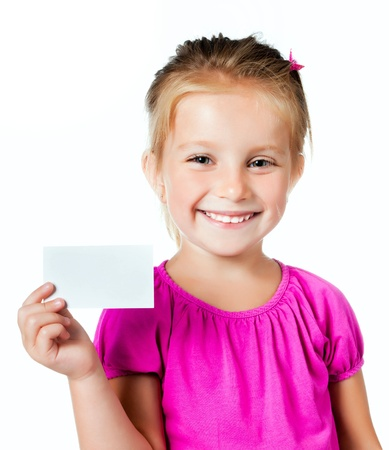 hand holding sign: little girl with a white card isolated on white Stock Photo