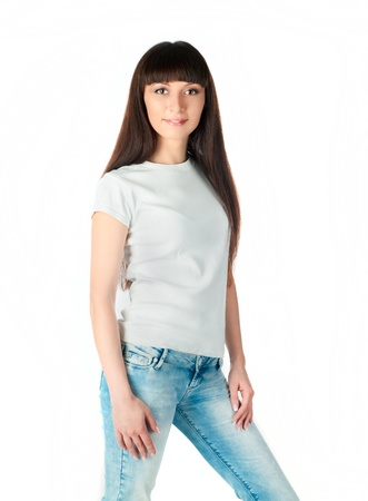 Beautiful teen in a blank white t-shirt for you to add your own text or design Stock Photo - 10055164