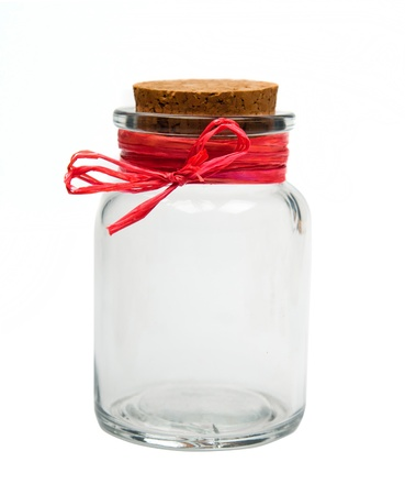 glass jar: empty jar isolated on a  light background