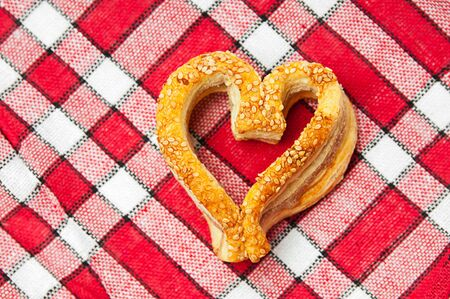 Fresh delicious cookies in a heart shaped photo