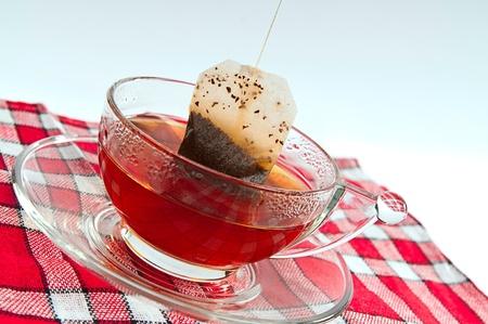 transparent cup of tea and tea bag photo