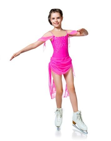 girl on skates isolated on a white background photo