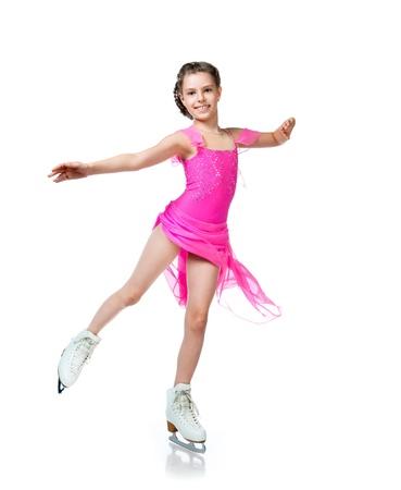 silhouette femme: jeune fille sur patins isol�es sur un fond blanc Banque d'images