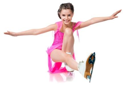 patinaje: chica en patines aislados en un fondo blanco